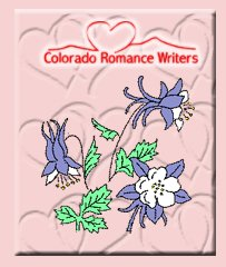 A pink square with hearts engraved and randomly spersed. Colorado Romance Writers logo at the top in red fancy script with a heart and mountains line drawing. Below the logo is a Columbine plant with three flowers, one open, one facing away and one still a bud. The columbines have white pedals in the middle and purple petals in a star around the outside. The columbine is the state flower of Colorado.