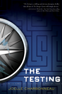"A picture of a compass on top of a blue maze drawing. The words YOUR TIME IS ALMOST UP run across the bottom of the cover over and over. ""The Testing is a chilling and devious dystopian thriller that all fans of The Hunger Games will simply devour."" --Jonathan Marberry, New York Times best-selling author of Rot & Ruin and Flesh & Bone."