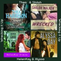 The Wrecked Tour Logo, which includeds the covers of Thea Harrison, Alyssa Day, Shiloh Walker, and HelenKay Dimon's Books