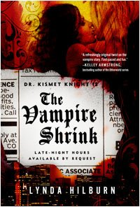 This cover is very dark and edgy. There's a dark haired woman on the verge of kissing a tall blond man, whose face is hidden by his long hair. They're surrounded by a background of reds and oranges reminiscent of fire. Superimposed over their bodies is an ad from the newspaper that reads: Dr. Kismet Knight is the Vampire Shrink: Late night hours available upon request. The paper is burned around the edges