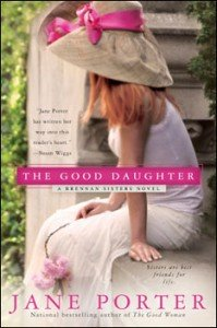 The cover of this book has a thin girl whose face is totally hidden by a large straw hat with a giant pink ribbon wrapped around it. Her  strawberry blond hair is falling over her shoulders. She's wearing a thin white dress that goes past her knees and is sitting on the edge of a porch. She's holding big floppy flower in her lap.