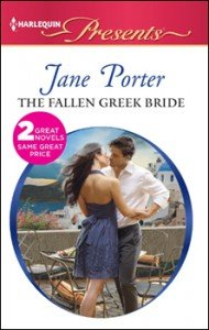 The cover looks like an old-school Harlequin with a couple on the cover about the kiss. Her back is to us, and she's wearing an open back, halter dress in navy blue. Her long dark brown hair is blowing in the wind. Her hero has short brown hair and is dressed in a crisp white shirt and grey trousers. He's wrapping her arms around his waist. The seem to be standing on a veranda, probably in Greece, I'd guess, as there is an ocean behind them to one side and white adobe type buildings with bright blue roofs on the other side of them. It's very romantic in a Greek bride kind of way.
