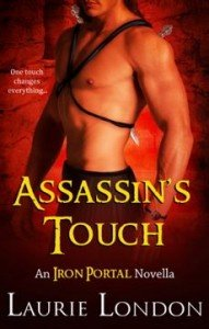 An Iron Portal Novella. One touch changes everything. The cover is all hues of reds and orange and there is one hunky shirtless guy. He is wearing some sort of strap that crisscrosses over his muscley chest and there are spears coming out of the back.
